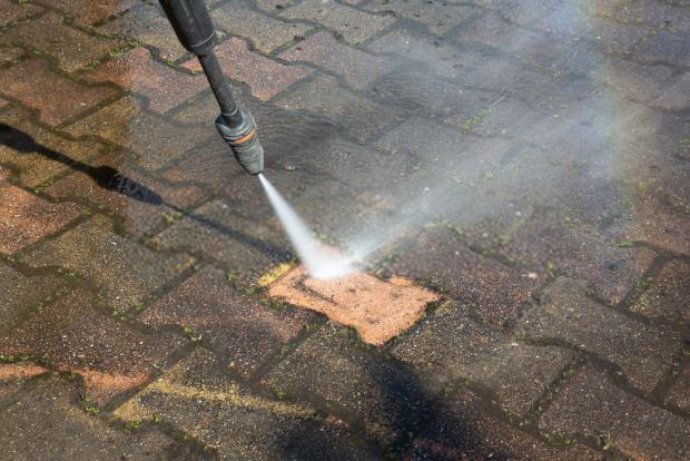 Use powered sprays to blast off dirt in crevices