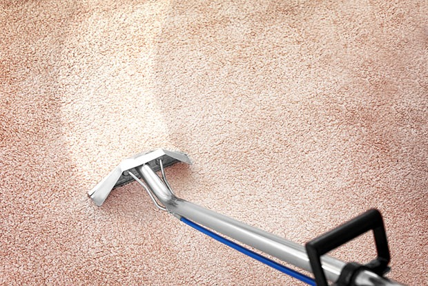 Removing dirt with professional vacuum cleaner indoors