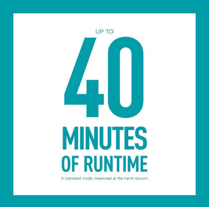 40 minutes of runtime allows you to work comfortably
