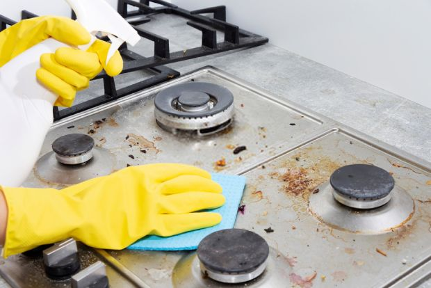 Spray your cleaning solution directly on the stovetop