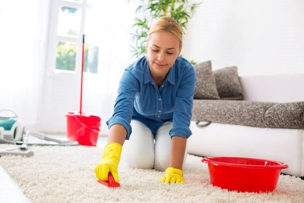A middle-aged woman cleaning her carpet manually