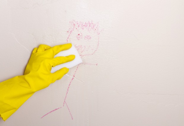 Clean crayon on walls with baking soda